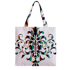 Damask Decorative Ornamental Zipper Grocery Tote Bag by Amaryn4rt