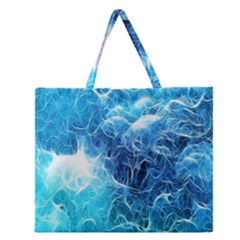 Fractal Occean Waves Artistic Background Zipper Large Tote Bag by Amaryn4rt