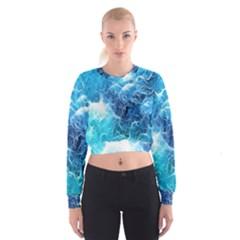 Fractal Occean Waves Artistic Background Women s Cropped Sweatshirt by Amaryn4rt