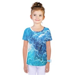 Fractal Occean Waves Artistic Background Kids  One Piece Tee by Amaryn4rt