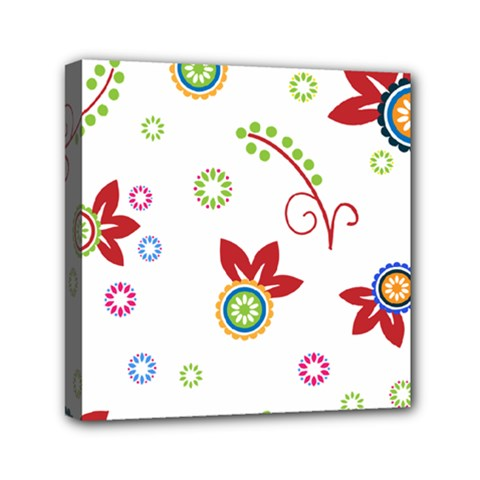 Colorful Floral Wallpaper Background Pattern Mini Canvas 6  X 6  by Amaryn4rt