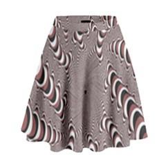 Digital Fractal Pattern High Waist Skirt