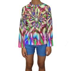 Magic Fractal Flower Multicolored Kids  Long Sleeve Swimwear by EDDArt