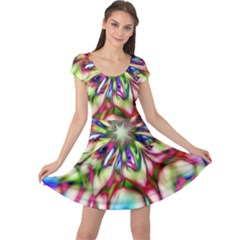 Magic Fractal Flower Multicolored Cap Sleeve Dresses by EDDArt