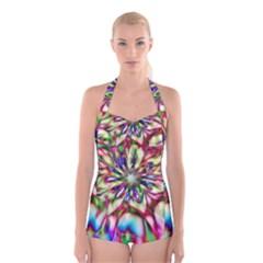 Magic Fractal Flower Multicolored Boyleg Halter Swimsuit  by EDDArt