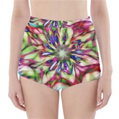 Magic Fractal Flower Multicolored High Waisted Bikini Bottoms by EDDArt