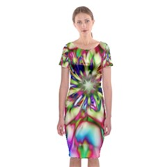 Magic Fractal Flower Multicolored Classic Short Sleeve Midi Dress by EDDArt