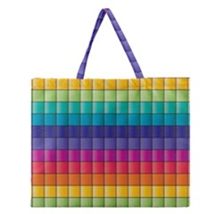 Pattern Grid Squares Texture Zipper Large Tote Bag by Amaryn4rt