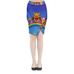 Owls Rainbow Animals Birds Nature Midi Wrap Pencil Skirt