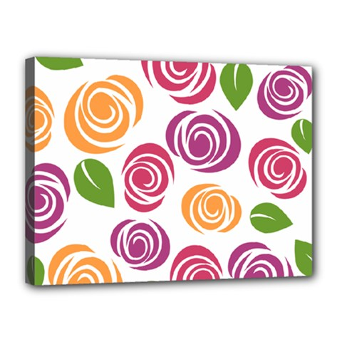 Colorful Seamless Floral Flowers Pattern Wallpaper Background Canvas 16  X 12  by Amaryn4rt