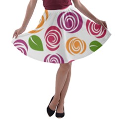 Colorful Seamless Floral Flowers Pattern Wallpaper Background A Line Skater Skirt