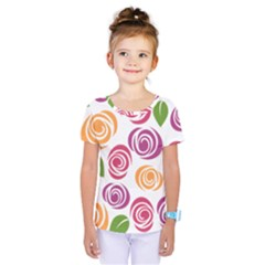 Colorful Seamless Floral Flowers Pattern Wallpaper Background Kids  One Piece Tee by Amaryn4rt