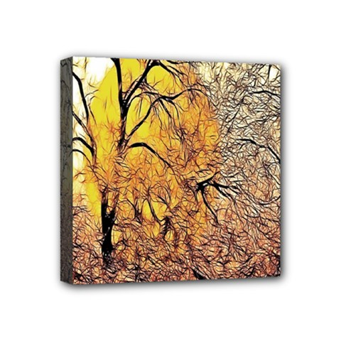 Summer Sun Set Fractal Forest Background Mini Canvas 4  X 4  by Amaryn4rt
