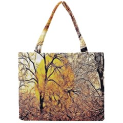 Summer Sun Set Fractal Forest Background Mini Tote Bag by Amaryn4rt