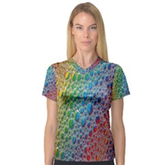 Bubbles Rainbow Colourful Colors Women s V Neck Sport Mesh Tee by Amaryn4rt