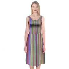 Striped Stripes Abstract Geometric Midi Sleeveless Dress by Amaryn4rt