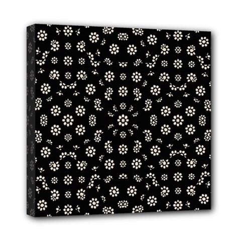 Dark Ditsy Floral Pattern Mini Canvas 8  X 8  by dflcprints