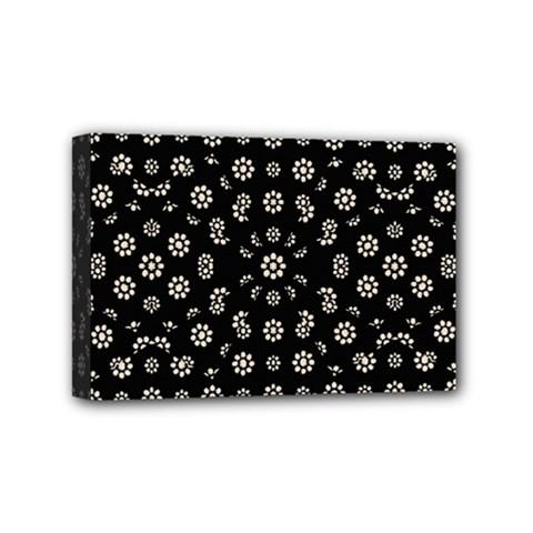 Dark Ditsy Floral Pattern Mini Canvas 6  X 4  by dflcprints