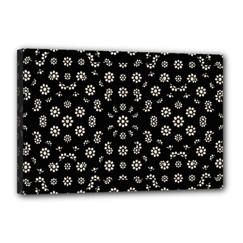 Dark Ditsy Floral Pattern Canvas 18  X 12  by dflcprints