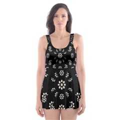 Dark Ditsy Floral Pattern Skater Dress Swimsuit by dflcprintsclothing