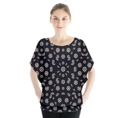 Dark Ditsy Floral Pattern Blouse by dflcprintsclothing