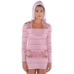Pink Peony Outline Romantic Women s Long Sleeve Hooded T-shirt by Simbadda