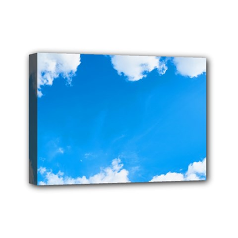 Sky Clouds Blue White Weather Air Mini Canvas 7  X 5  by Simbadda