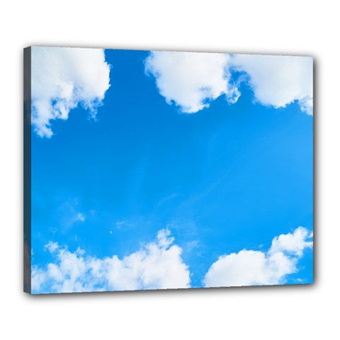 Sky Clouds Blue White Weather Air Canvas 20  X 16  by Simbadda