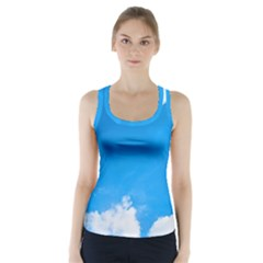 Sky Clouds Blue White Weather Air Racer Back Sports Top by Simbadda