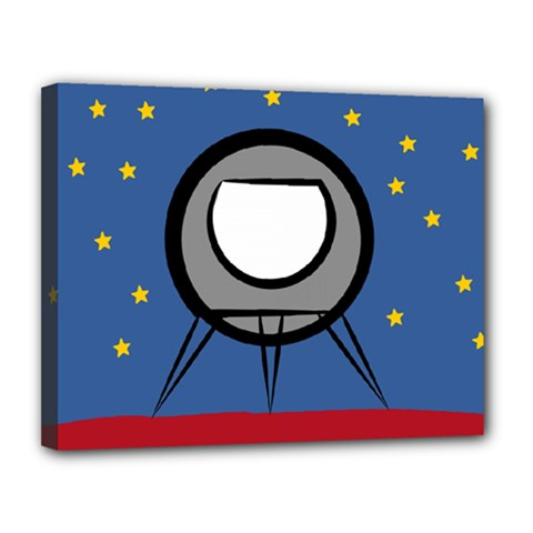 A Rocket Ship Sits On A Red Planet With Gold Stars In The Background Canvas 14  X 11  by Simbadda