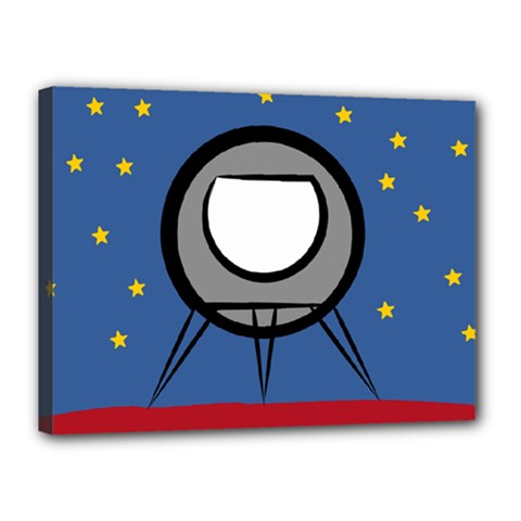 A Rocket Ship Sits On A Red Planet With Gold Stars In The Background Canvas 16  X 12  by Simbadda