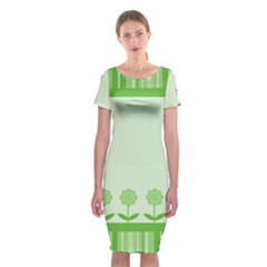 Floral Stripes Card In Green Classic Short Sleeve Midi Dress by Simbadda