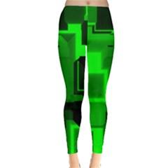 Green Cyber Glow Pattern Leggings  by Simbadda