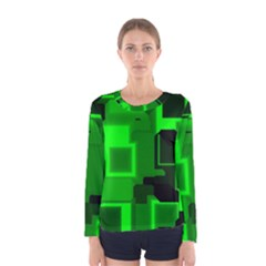 Green Cyber Glow Pattern Women s Long Sleeve Tee