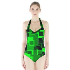 Green Cyber Glow Pattern Halter Swimsuit by Simbadda