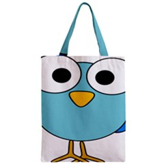 Bird Big Eyes Blue Zipper Classic Tote Bag by Alisyart