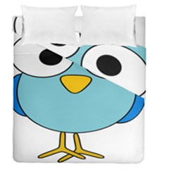 Bird Big Eyes Blue Duvet Cover Double Side (queen Size) by Alisyart
