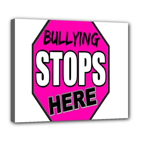 Bullying Stops Here Pink Sign Deluxe Canvas 24  X 20   by Alisyart