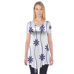 Geometric Flower Seamless Repeating Pattern With Curvy Lines Short Sleeve Tunic  by Simbadda