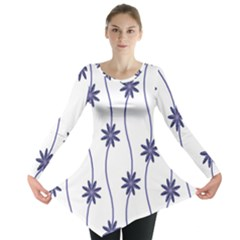 Geometric Flower Seamless Repeating Pattern With Curvy Lines Long Sleeve Tunic  by Simbadda