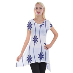 Geometric Flower Seamless Repeating Pattern With Curvy Lines Short Sleeve Side Drop Tunic by Simbadda
