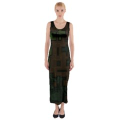 Circuit Board A Completely Seamless Background Design Fitted Maxi Dress by Simbadda