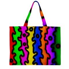 Digitally Created Abstract Squiggle Stripes Zipper Mini Tote Bag by Simbadda