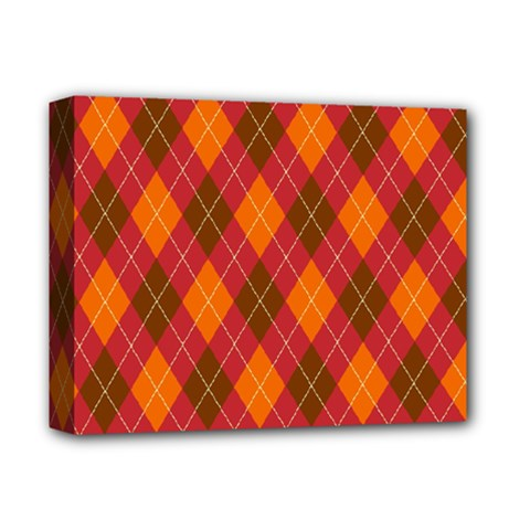 Argyle Pattern Background Wallpaper In Brown Orange And Red Deluxe Canvas 14  X 11  by Simbadda