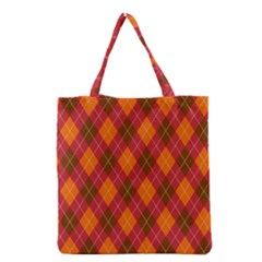 Argyle Pattern Background Wallpaper In Brown Orange And Red Grocery Tote Bag