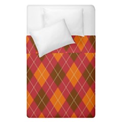 Argyle Pattern Background Wallpaper In Brown Orange And Red Duvet Cover Double Side (single Size) by Simbadda