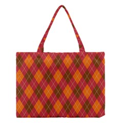 Argyle Pattern Background Wallpaper In Brown Orange And Red Medium Tote Bag by Simbadda