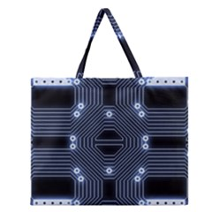 A Completely Seamless Tile Able Techy Circuit Background Zipper Large Tote Bag by Simbadda
