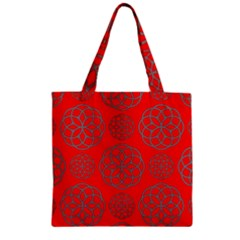 Geometric Circles Seamless Pattern On Red Background Zipper Grocery Tote Bag by Simbadda