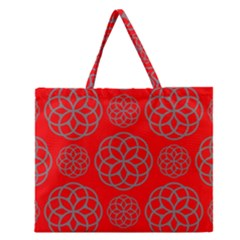 Geometric Circles Seamless Pattern On Red Background Zipper Large Tote Bag by Simbadda